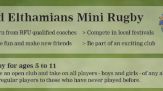 Old Elthamians Rugby mini's open morning - October 11th