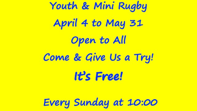 Youth & Mini Rugby returns Sunday April 4 - Season extended to May 31