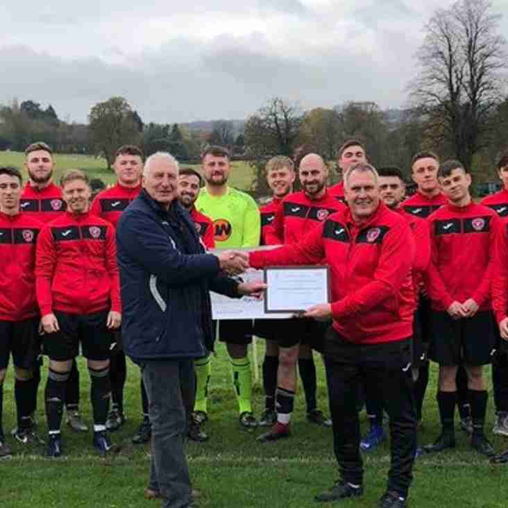 Team of the Month award to Cromford & Wirksworth Town