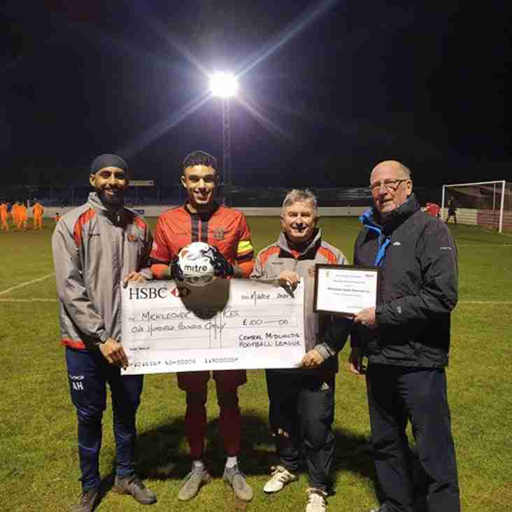 Team of the Month award to Mickleover Sports Reserves