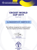 ECB RECOGNITION OF ICC WORLD CUP SUCCESS