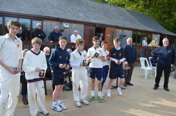 Players receiving their trophies