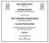 Players Wanted - Hull Wyke U16 (Year 11)