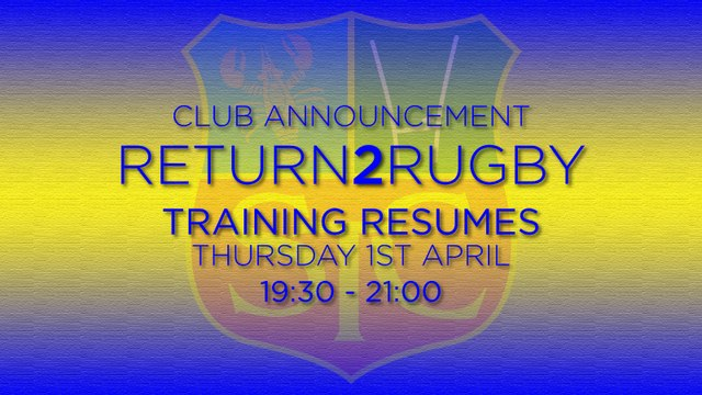 Reminder: Training Resumes 1st April