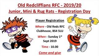 Junior, Mini & Rug Rats - Registration Day - 01/09/2019