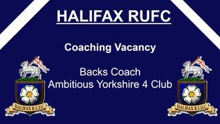 Halifax RUFC Seeking Backs Coach