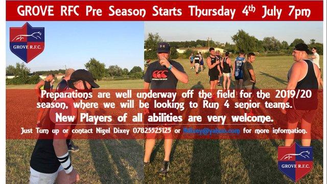 Pre Season Starts Thursday 4th July 7pm