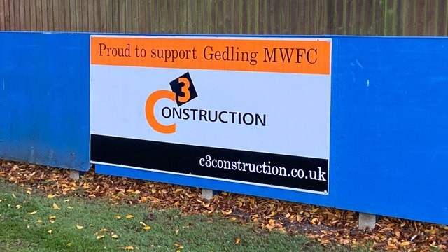 C3 Construction commit to sponsoring Gedling with a pitchside board.