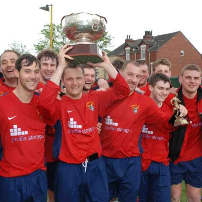 Redoubt celebrate winning the prestigious Landlord's Trophy at College Grove.