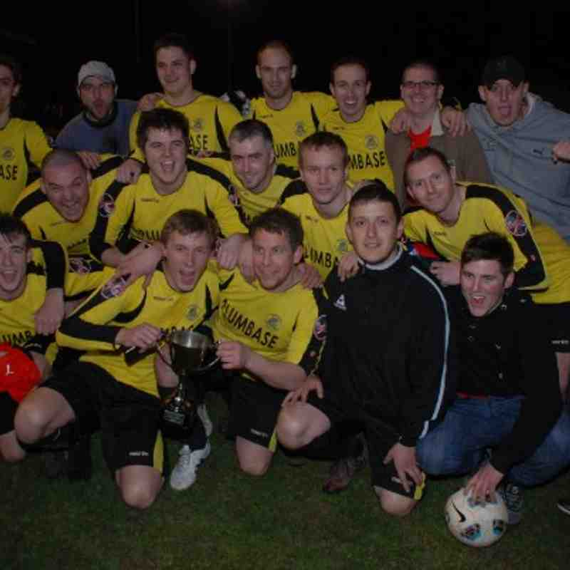 Fleece celebrate a four-goal haul in the Division Three Cup Final
