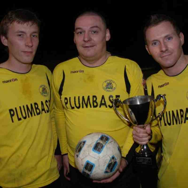 Goal-scoring, cup-winning heroes from Left to Right - Tom Wooley, John Newbatt and Andrew Patterson (2) in Fleece Reserves 4-0 Cup Final victory over Tingley FC.