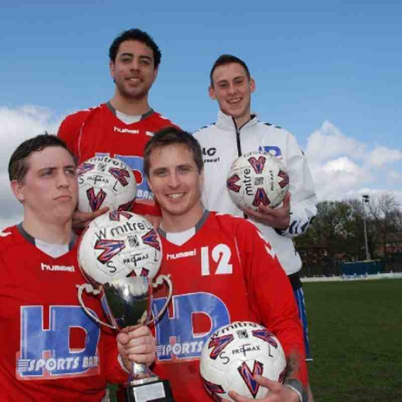 Cup winning goal scorers for HD Sports Bar FC - Front L to R: Rob Gibson (2) & Tom Francis. Standing L to R: Jack Kamara (3) & Rob Biglands (2).