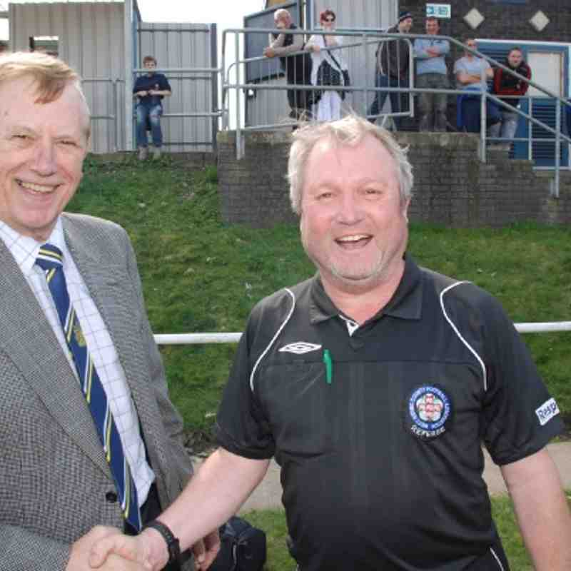 Referee Nigel Stroud receives his Cup Final medal from Referees Secretary Mr. Brian Fox
