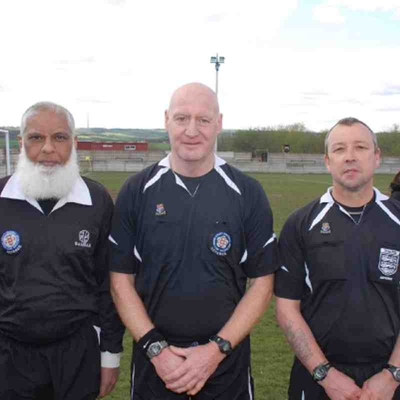 Cup Final Match Officials; L to R: Assistant Mahmud Dadhiwala, Referee Chris Morritt and Assistant Roy Littlewood