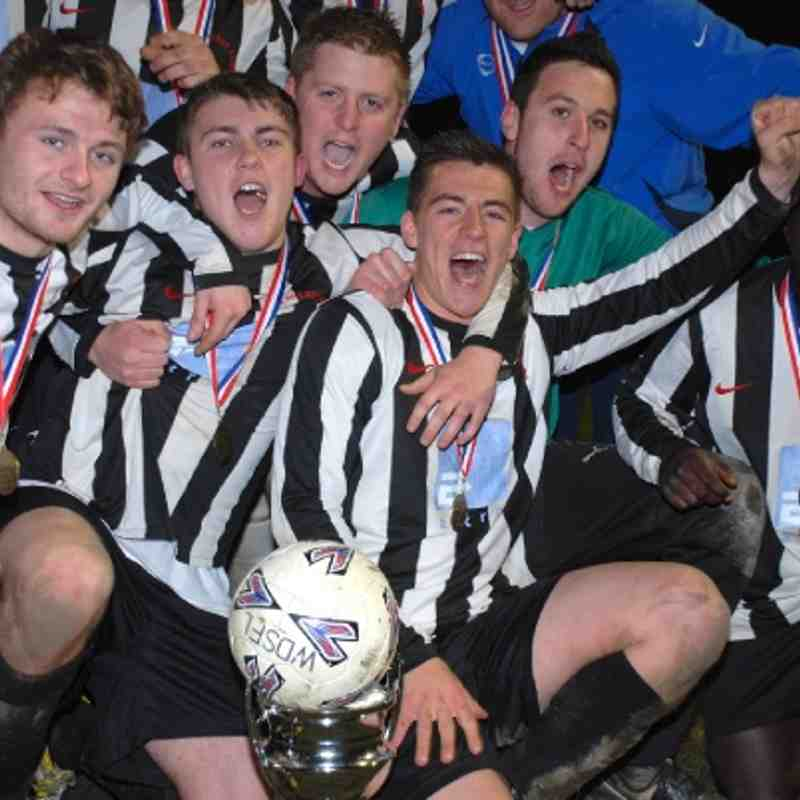 Gallant Shepherds Arms celebrate their Premier Division League Cup success over Kinsley Hotel.