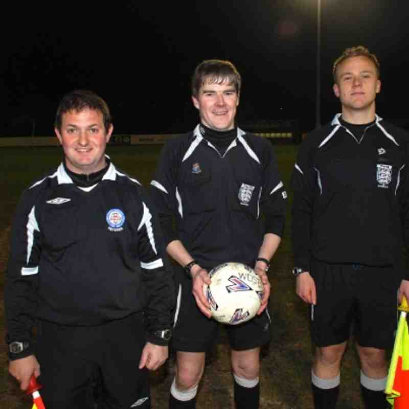 Premier Division Cup Final Match Officials;  L to R: Pat McTigue - Referee Kevin Kelly - Michael Trevethan