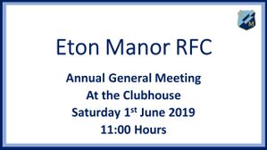 Annual General Meeting 1st June 2019 at 11.00 Hours