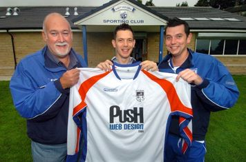Open Age Managers, Graham Pickford & Nigel Saddington with sponsor James Whiteley of Push Web Design
