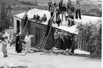 The old clubhouse on Stocksbank Road being built by Stan & the boys