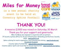 Miles for Money Charity walk total just in