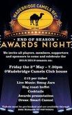 Wadebridge Camels Awards night Friday 3rd May at 7:30 pm.