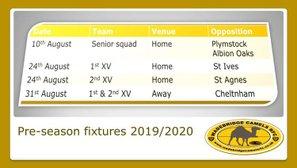 Senior pre-season games announced.