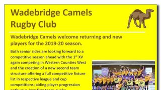 Wadebridge Camels welcome returning & new players for the 2019-20 season.