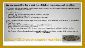 Part time Kitchen Manager / Cook position available at Wadebridge Camels