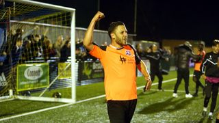 Haringey Borough (1) vs Angels (2) , Bostik Premier PlayOff Semi-Final 02.05.19. By David Couldridge. The action and celebrations with supporters.