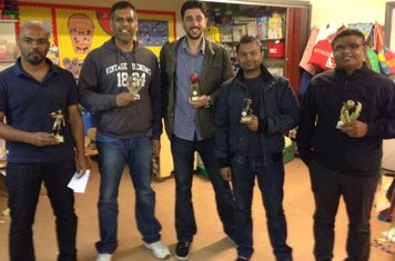Proud Winners of the 2013 Trophies (L-R) - Sandeep, Harish, Ritesh, Mehul (JNR), and MP3.