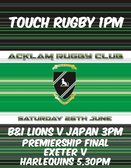 A Saturday Afternoon full of rugby entertainment