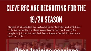 Cleve RFC Recruiting New Players
