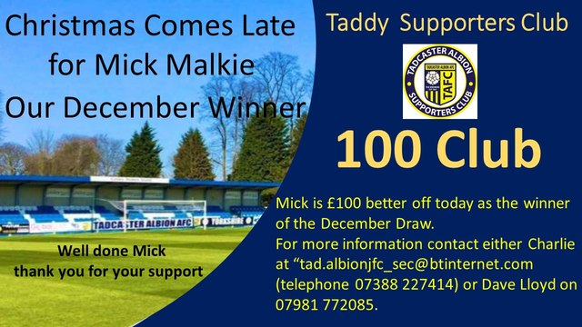 100 Club  - Mick Malkie Scoops the December Draw
