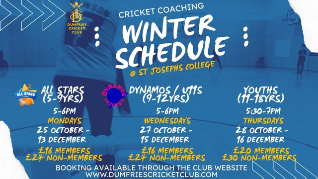 Junior Indoor Cricket Sessions - From 25 Oct