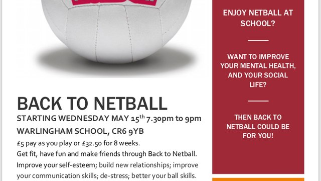 Back to Netball starting Wed 15 May 2019