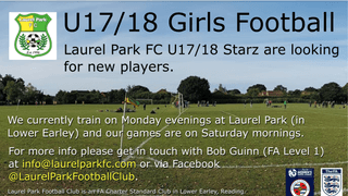 U17/18 Laurel Park Girls are looking for new  players