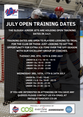 July Open Training Dates