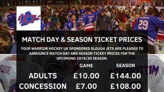 Match day & Season Ticket prices