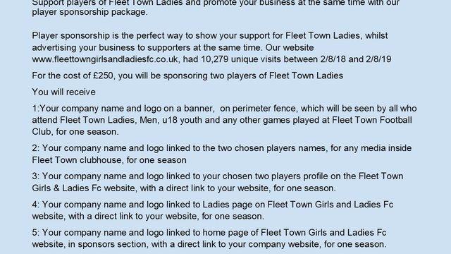 Fleet Town Ladies Sponsorship Opportunities
