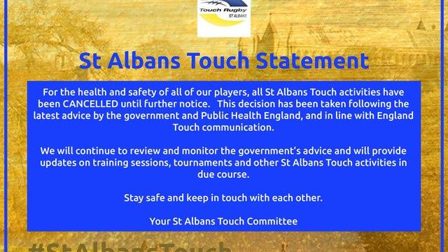 St Albans Touch Statement - CONVID-19