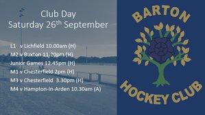 Club Day - Saturday 26th September