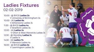 Ladies fixtures 2nd February