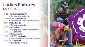 Ladies fixtures 9 February