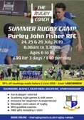 Rugby Camps return to PJF on July 24th -26th inclusive