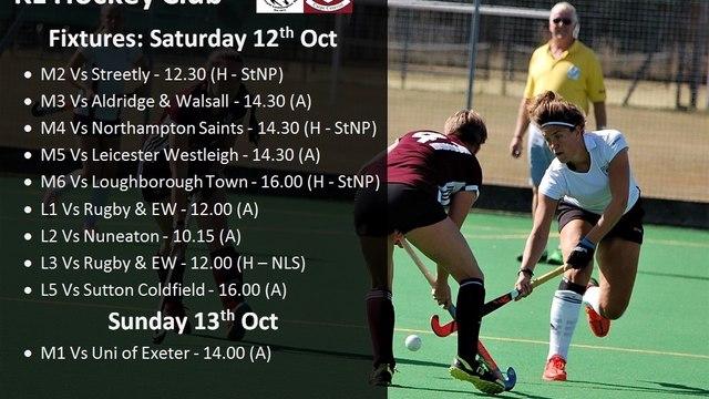 Fixtures Weekend 12th October