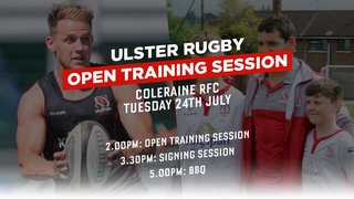Ulster Rugby....Open Training at Coleraine Rugby Club