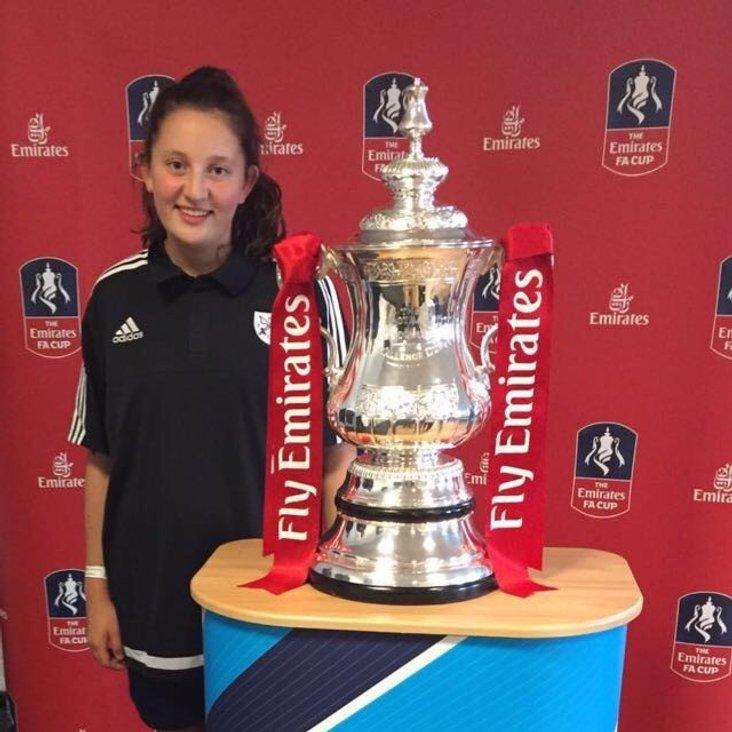Hanwell Town captain Elsa Jones celebrates winning the FA Cup!