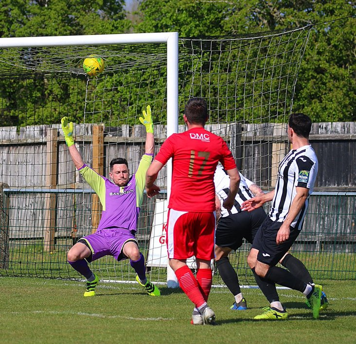 Marcus Bowers scores for Tilbury at Dereham Town- image from Alan Palmer