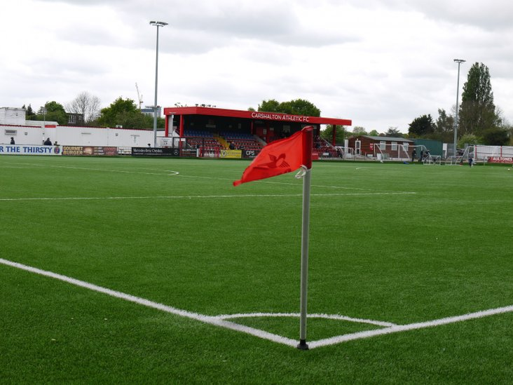 The main stand at Carshalton Athletic