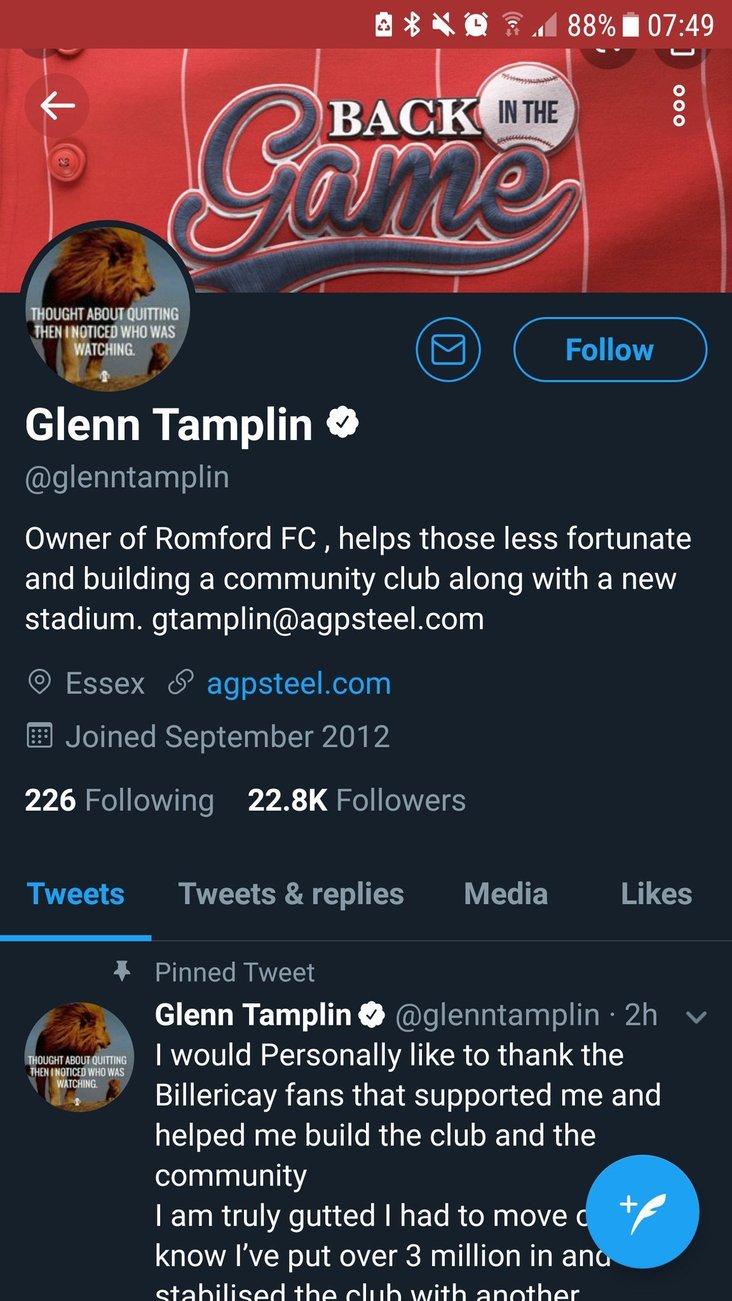 Glenn Tamplin Twitter